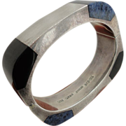 Heavy Solid Mexican Sterling Silver Bangle Onyx and Sodalite Inlay