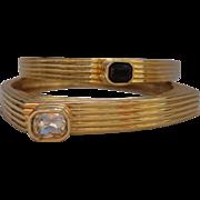 Vintage Pair Modernistic Gilt Black and Clear Crystal Bangle Bracelets