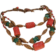 C1940s 3 Tier Filigree Coral and Jade Green Art Glass Necklace