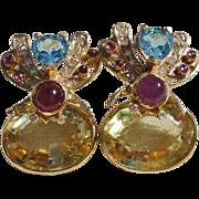Amazing 14K Citrine, Ruby, Aquamarine and Diamond Bee Bug Earrings