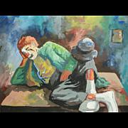 "Original Gouache Painting by Robert Herzberg (1886-1960) of ""Weary Willie"", Emmett Kelly"