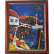 Mid Century Modernist Acrylic Painting Rickety Wharf by Paul W. Holtz C1977