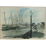 1960s Paul N. Norton Framed Art Print - Mystic Seaport Connecticut