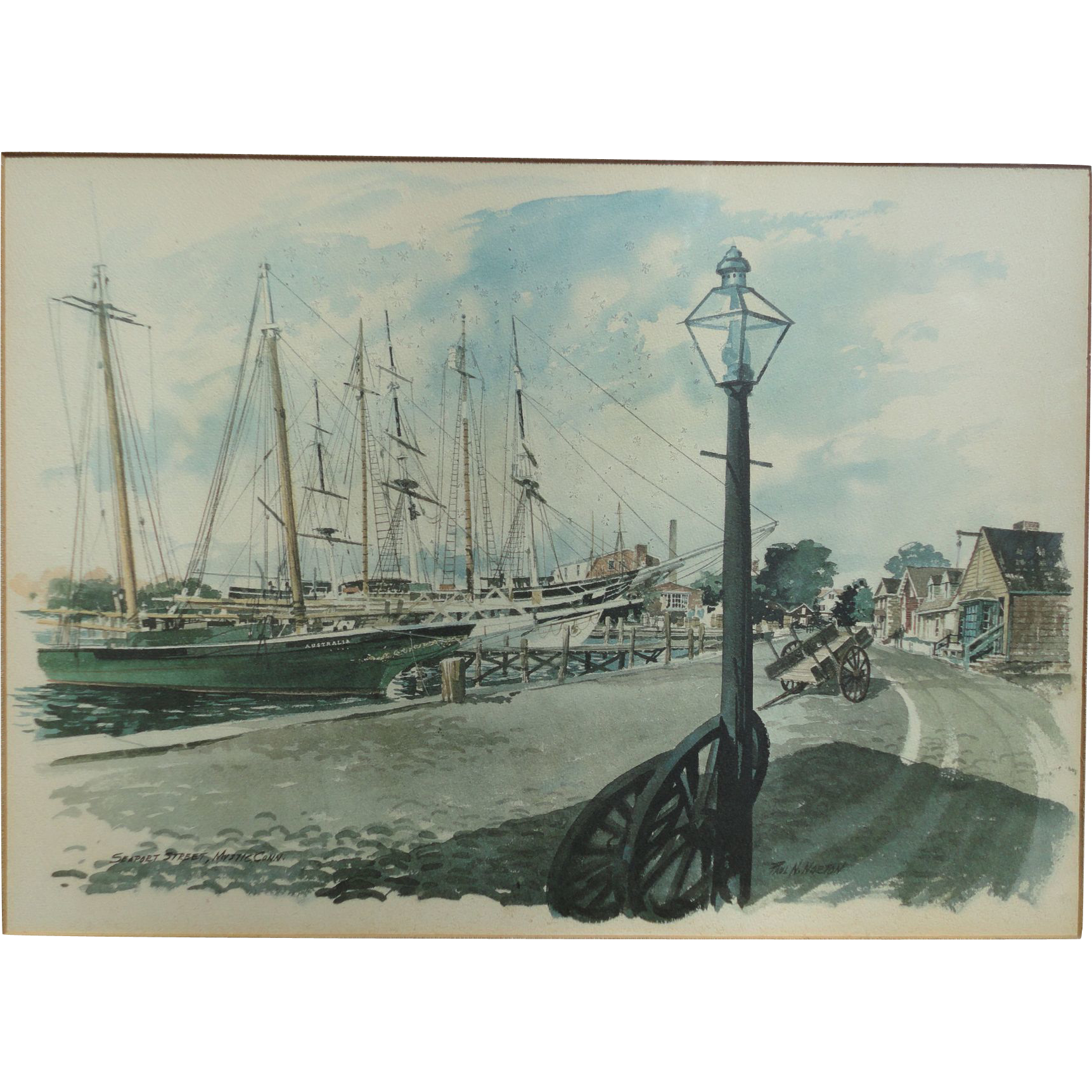 Connecticut watercolor artists directory - 1960s Paul N Norton Watercolor Framed Art Print Original Mystic Seaport Connecticut