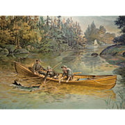 Gone Fishing - Frank H. Taylor (1846-1926) Vintage Print Salmon Fishing