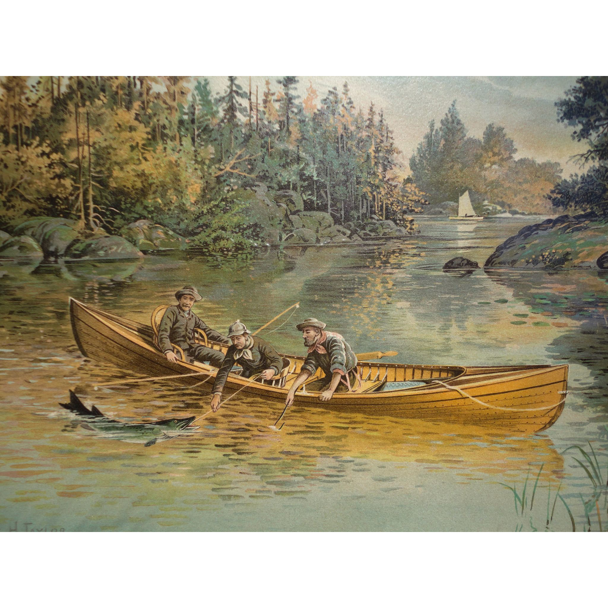 Gone Fishing - Frank H. Taylor (1846-1926) Vintage Print Salmon Fishing