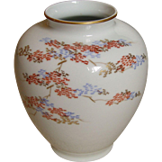 Vintage Japanese Fukagawa hand-painted porcelain leaf Kaki vase