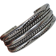 Navajo Sterling Silver Wide Layered Rope Cuff Bracelet with Stamping Signed Tahe