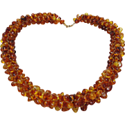 Vintage genuine Baltic Amber Woven necklace 57.3 Grams