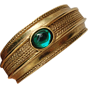 Vintage Designer Dauplaise Bangle Bracelet Gilt with Jelly Belly Green Cabochon