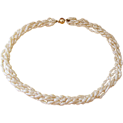Nice 5 Strand Fresh Water Pearl Necklace 14K Yellow Gold Ball Clasp