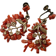 Vintage Mediterranean Red Coral Branch Earrings with Gilt Applique