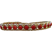 Fabulous Designer 1960s 14K Yellow Gold Mediterranean Red Coral Channel Set Bracelet