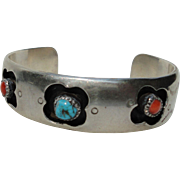 Vintage South Western Sterling Silver Shadow Box Bangle Bracelet Turquoise Coral