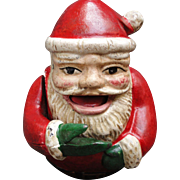 Cast Iron Jolly Santa Claus Fat Boy Mechanical Bank Christmas