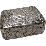 C1901 Swedish Made English Imported Sterling Silver Repousse Trinket Box Cherubs and Fairies