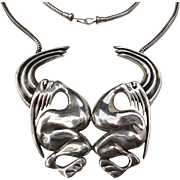 Funky Modernistic Sterling Silver Necklace with Large Pendant Dancing Couple