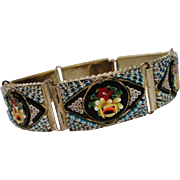 Amazing Vintage Italian Micro Mosaic Bracelet Millefiori Colorful Flowers