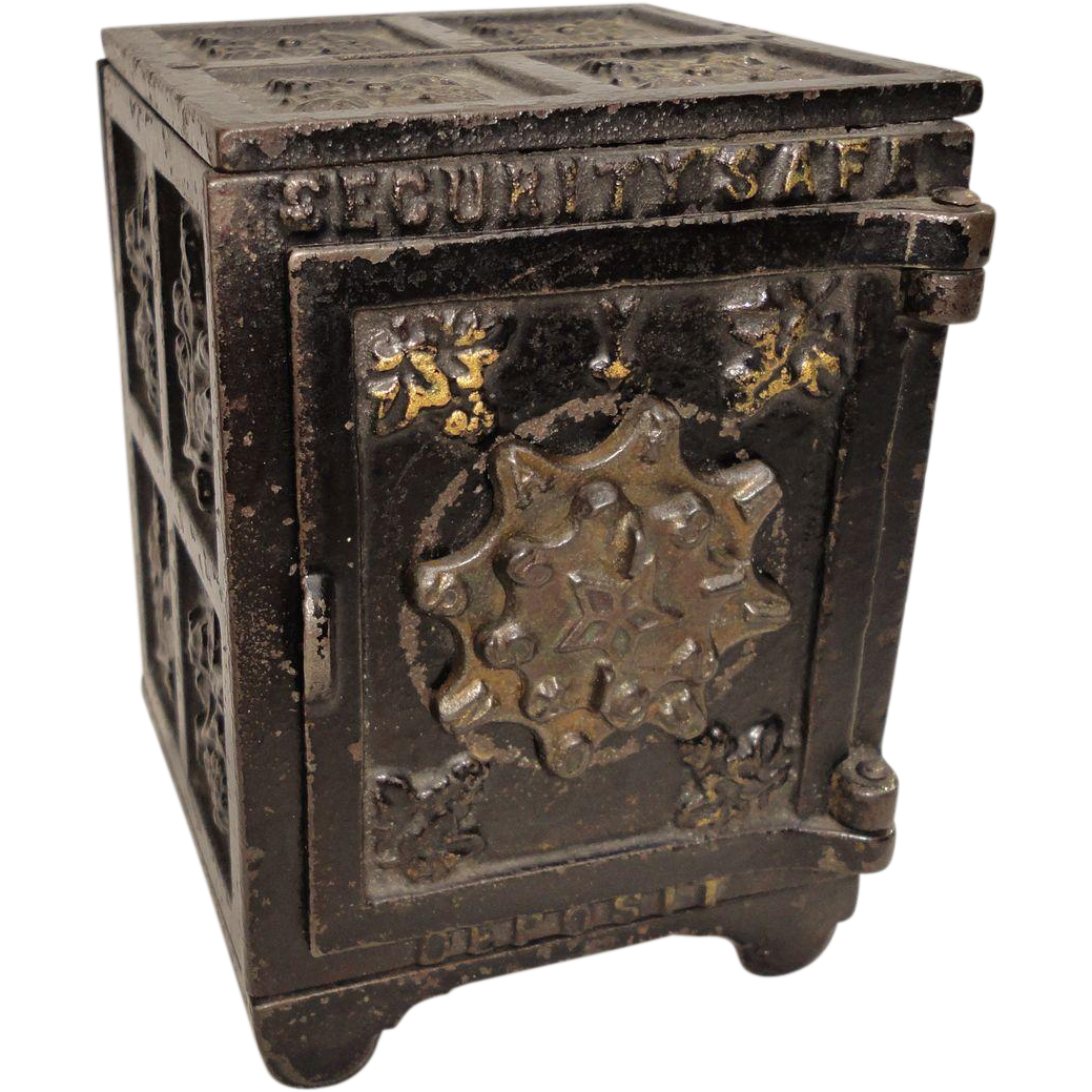 Original Antique Cast Iron Working Mechanic Bank Toy Two Digit Safe C1900.