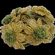 Nice set of 6 Irrediscent Italian Seed Bead Green Yellow Flowers Napkin Rings