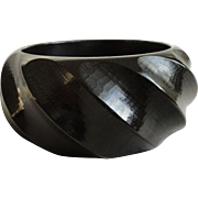 Stunning Hand Carved Statement Black Bakelite Bangle Bracelet