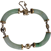 Beautiful Vintage Chinese 14K Yellow Gold Jadeite Jade Sectional Bracelet