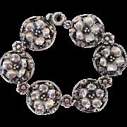 Art Deco Sterling Silver Figural Repousse Flowers Link Bracelet Aucello Bros Italian Designer