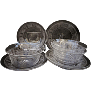 C1900 Set 4 American Brilliant Cut Crystal Finger Bowls with Under Plate ABP