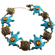 Art Deco Chinese Sterling Silver Bracelet with Enamel Turtles Carnelian Cabochons and Filigree Longevity Symbols