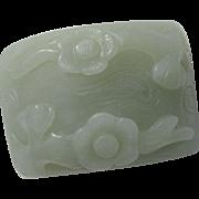 Vintage Chinese Carved Flower Hetian Nephrite Jade Piece