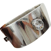 Bold & Modernistic Mexican Sterling Silver Bangle Bracelet with Large Crystal
