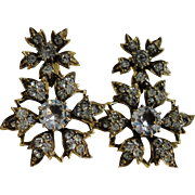 Stunning Victorian Gilt Pinchbeck Paste Earrings Clip on