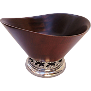 Mid Century Modern Wood and Silverplate Center Bowl Sheffield Silver Co.