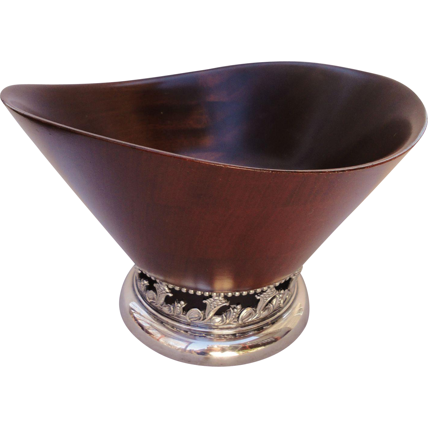 Mid Century Modern Wood And Silverplate Center Bowl