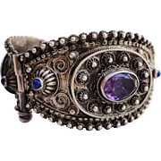 Etruscan Style Bangle Bracelet with Genuine Amethysts and Lapis Stones 800 Silver Cannetille