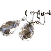 Beautiful Art Deco Rock Crystal Tear Drop Earrings Sterling Silver Screw Back Findings