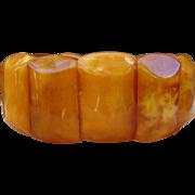 Beautiful Egg Yolk Butterscotch Baltic Amber Stretch Panel Bracelet