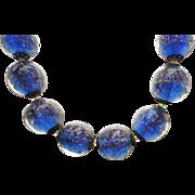 Set Italian Blue Murano Glass Aventurine Art Glass Beads Necklace Earrings Set