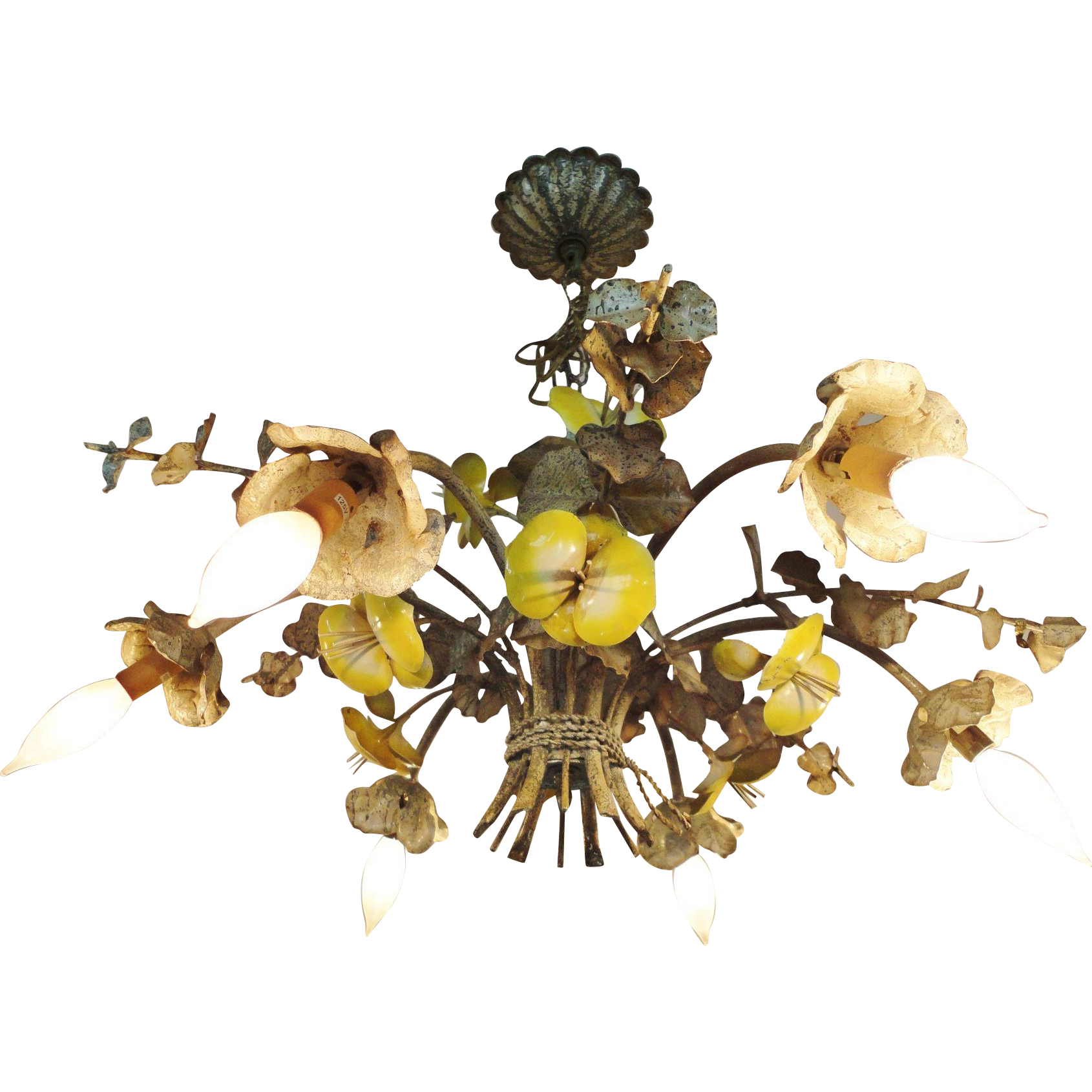 Italian Tole Chandelier Enamel Yellow Pansies Six Light chandelier