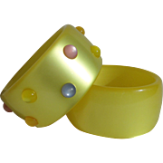 Awesome Pair 1960's Moonglow Lucite Yellow Bangles with Colorful Cabochons Mod Style