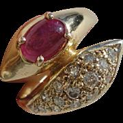 Designer 14K Yellow Gold Diamond Ruby Double Headed Snake Serpent Ring