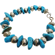 Vintage South Western Style Sleeping Beauty Turquoise Bracelet Sterling Silver