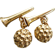 Fabulous Hand Crafted Solid 14K Yellow Gold Golf Ball and Tee Cufflinks 20 Grams