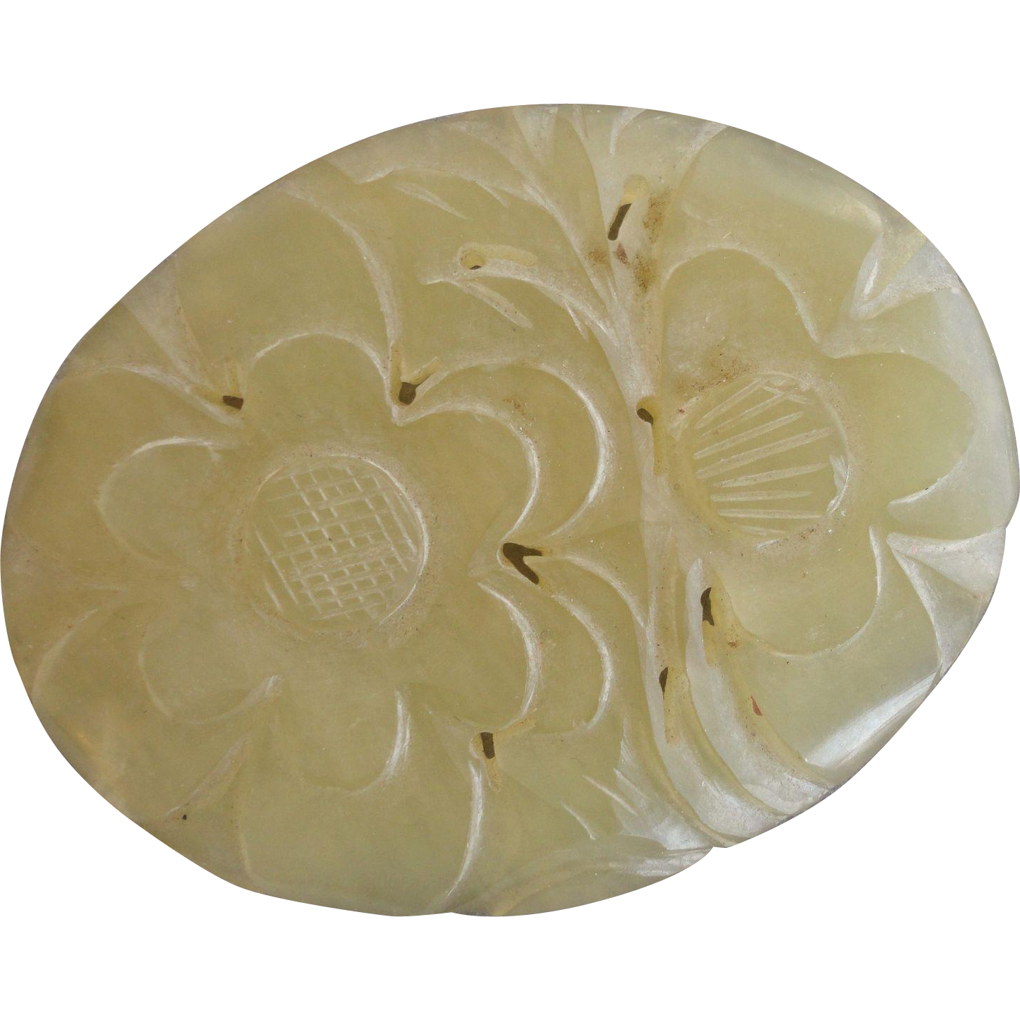 Chinese Floral Oval Hand Carved Pale Celadon Serpentine Art Deco Box Top Piece 2 3/4'' Long 2'' Wide