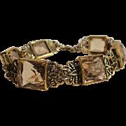 C1940s Filigree Gilt Large Faceted Peach Crystal Bracelet