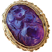Art Deco Chinese Carved Amethyst Sterling Silver Poison Ring Flexible Size