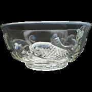 Scarce C1960s Fenton Opalescent Trout Bowl Original Label Mid Century Asian Influence