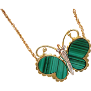 Binder Bros 14K Yellow Gold Malachite Diamond Butterfly Necklace 13 7/8 inches