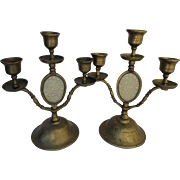 Stunning Pair Chinese Celadon Jade Serpentine Inlay Brass Candelabra Candlesticks Candle Holder Set