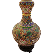 "Chinese Champleve Vase 7 1/4"" Enamel Cloisonne Gilt Brass Base"